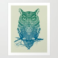 tattoo Art Prints featuring Warrior Owl by Rachel Caldwell