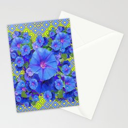 Lime-Blue Morning Glories Pattern Art Stationery Cards
