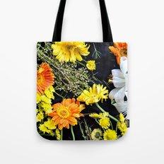 Fresh blooms on black Tote Bag