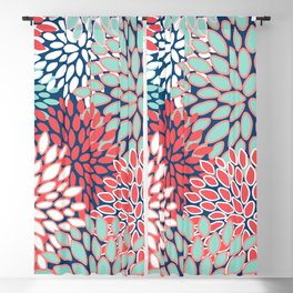 Flower Print, Navy, Red, Pink, Green Blackout Curtain