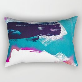 On Holiday: A vibrant minimal abstract painting in blue white and pink by Alyssa Hamilton Art  Rectangular Pillow