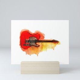 Watercolor guitar Mini Art Print