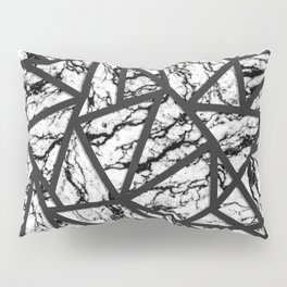 Geometric Black and White Marble Triangles Pattern Pillow Sham