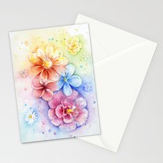 Flowers Watercolor Floral Colorful Rainbow Painting Stationery Cards