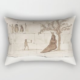 The Town of Bacchus on the North side of the Lake Moeris  from the kings tombs in Thebes by Giovanni Rectangular Pillow