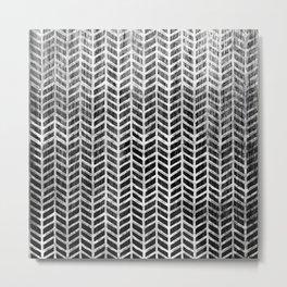 Herringbone & Teak (Black & White) Metal Print