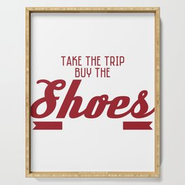 "Live life to the fullest with this awesome ""Life Is Short, Take A Trip, Buy The Shoes, Eat The Cake"" Serving Tray"