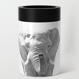 Black and white elephant illustration Can Cooler