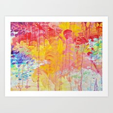 SUN SHOWERS - Beautiful Pastel Coloful Rain Clouds Bright Sky Abstract Acrylic Painting Art Print