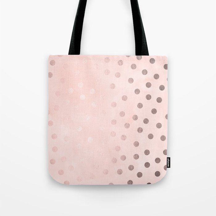 301ae7657 Rose Gold Pastel Pink Polka Dots Tote Bag by naturemagick | Society6
