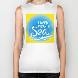 i need vitamin sea White text on blue abstract background, symbol of the sea ocean trendy print Biker Tank
