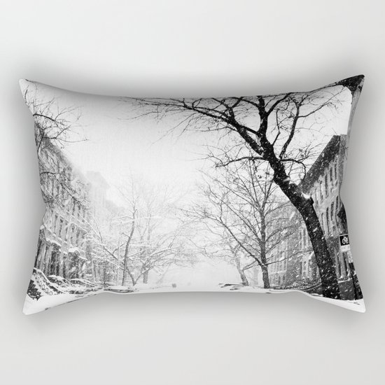 New York City At Snow Time Black and White Rectangular Pillow