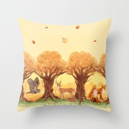 Sunny Forest Throw Pillow