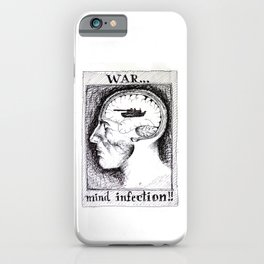 Anti-War Man Portrait Drawing Anatomy Pen Ink Illustration Retro Vintage War is a Mind Infection iPhone Case