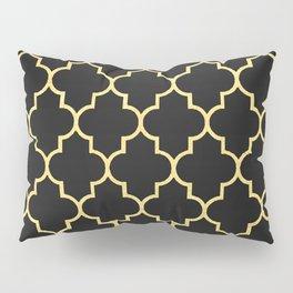 Black Gold Quattrefoil Pillow Sham