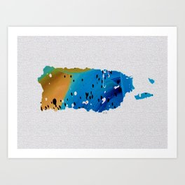 Colorful Art Puerto Rico Map Blue and Brown Art Print
