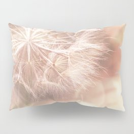 Pink Macro (2) Dandelion Flower - Floral Nature Photography Art and Accessories Pillow Sham