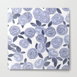 Blue watercolor roses. r2 Metal Print