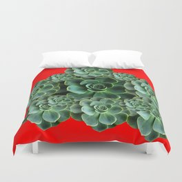 CHINESE  RED ART JADE GREEN SUCCULENTS Duvet Cover