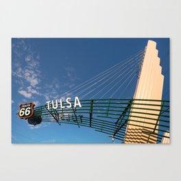 Tulsa Oklahoma Route 66 Neon Googie Style Street Art Sign Canvas Print