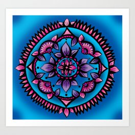 Shining Sunflower Mandala Art Print
