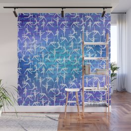 Yoga Asanas pattern on watercolor purple and blue Wall Mural