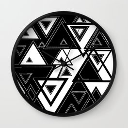 Triangle black and white Wall Clock