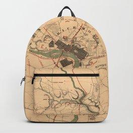 Vintage Richmond VA Rebel Defense Map (1864) Backpack