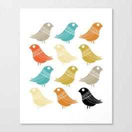 Colorful Birds Mid Century Modern Retro Canvas Print