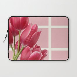 Beautiful Tulips & Pink Square Grid Laptop Sleeve
