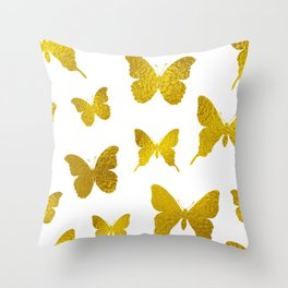 Awesome Gold Butterfly Seamless Pattern Throw Pillow