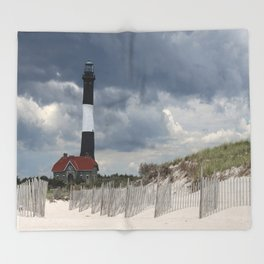 Fire Island Light From The Beach Throw Blanket