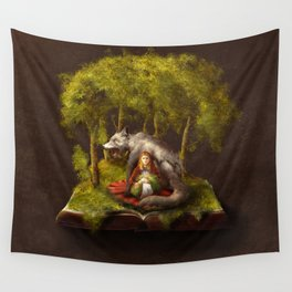 The Wolf and the Girl Wall Tapestry