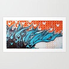 Blue hair dreams Art Print