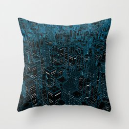 Night light city / Lineart city in blue Throw Pillow