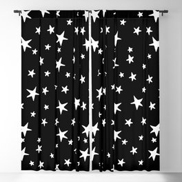 Stars - White on Black Blackout Curtain