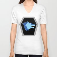 hologram V-neck T-shirts featuring Visionaries Wolf by cardboardLAB