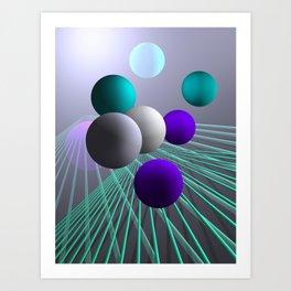 converging lines and balls -4- Art Print
