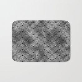 Ringed Scales in Black and Silver Vintage Faux Foil Art Deco Vintage Foil Pattern Bath Mat