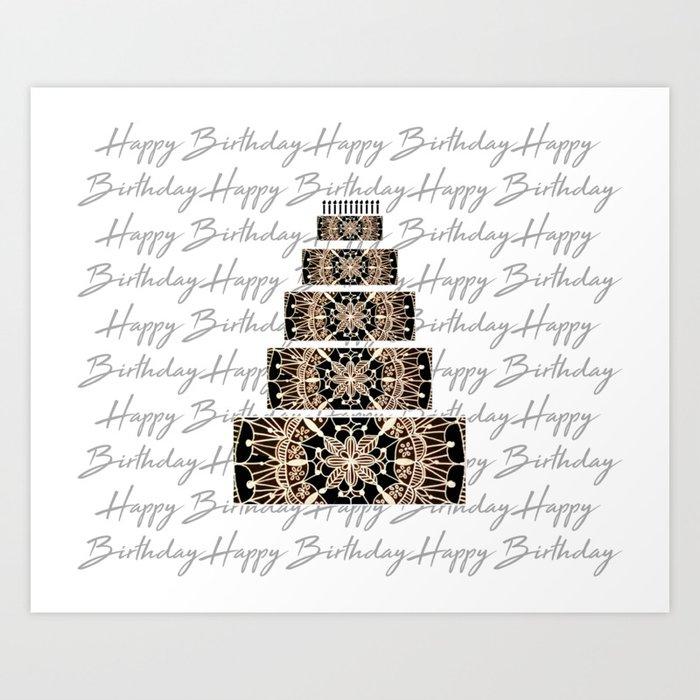 Black And Rose Gold Mandala Birthday Cake Candles Art Print