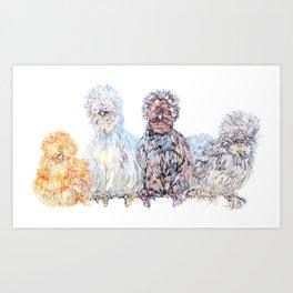 Silkie Chicken Huddle Art Print