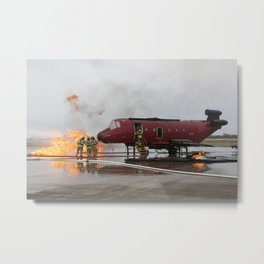 1338. Fire Rescue Exercise Metal Print