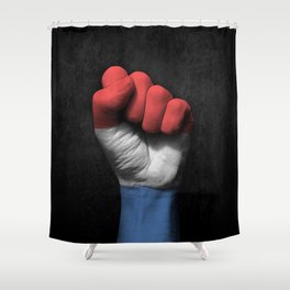 Dutch Flag on a Raised Clenched Fist Shower Curtain