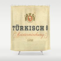 cigarette Shower Curtains featuring Turkisch 8 - Vintage Cigarette by Fernando Vieira