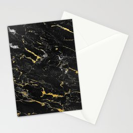 Gold Flecked Black Marble Stationery Cards