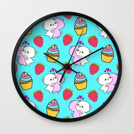 Cute happy cuddling funny Kawaii baby kittens, sweet red summer strawberries and colorful yummy cupcakes bright light pastel blue design. Nursery decor. Wall Clock