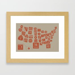 United State Highways of America - Rust Framed Art Print