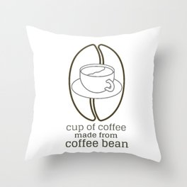 cup of coffee - coffee bean Throw Pillow