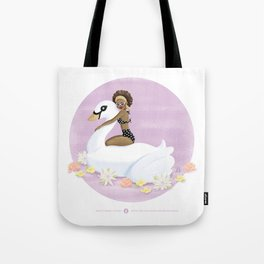 Summer Pool Party - White Swan Float A Tote Bag