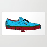 vans Art Prints featuring Zombie Vans by Digital Death